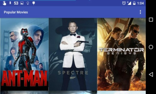 Screenshot of Popular Movies app in landscape orientation